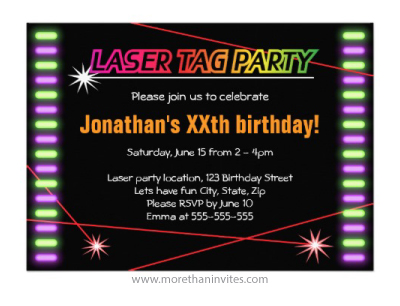 Fun laser tag birthday party invitation for kids and adults