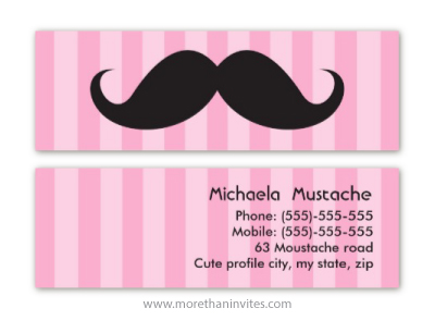 Funny black mustache on pink stripes personal profile business card