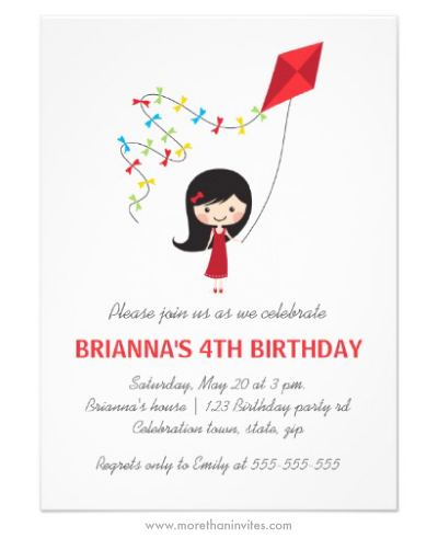 Girl with kite and red dress cute classy birthday invitation for little girls