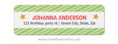 Green stripes and yellow stars colorful custom circus birthday return address labels