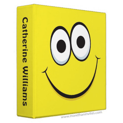 Happy yellow cartoon smiley face personalized school binder for children