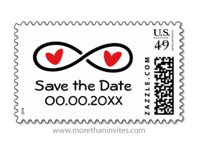 Infinity symbol with red love hearts personalized Save the Date postage stamp