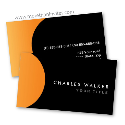 Modern Black Business Card With Orange Half Circle More Than Invites