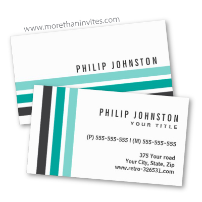 Modern trendy generic business card with gray teal aqua retro stripes