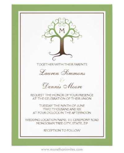 Monogram initial heart tree wedding invitation in brown and green