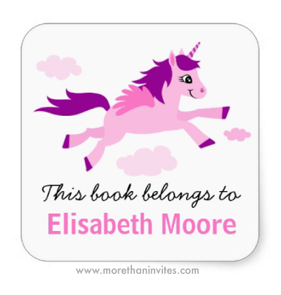 Pink and purple unicorn cute girly bookplate stickers book labels for children