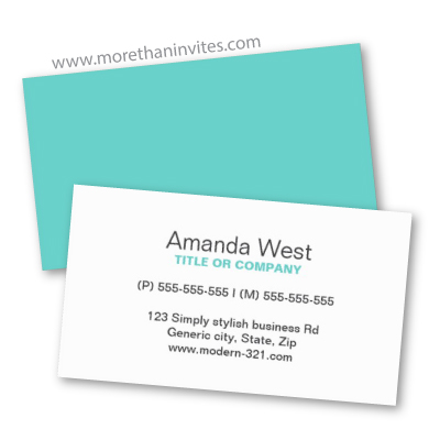 Plain simple generic aqua turquoise blue professional business card template