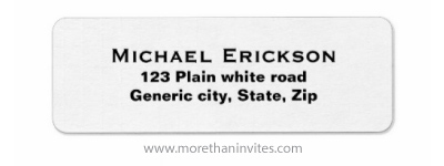 Plain simple white custom return address labels with black text