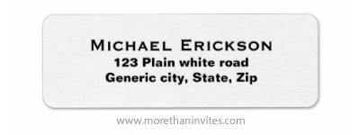 Plain simple white custom return address labels with black text
