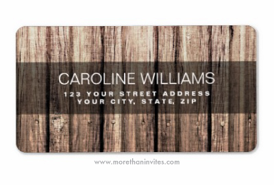 Rustic weathered barn wood planks personalized return address labels