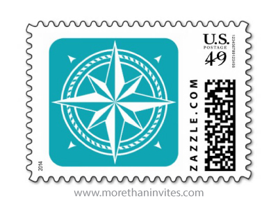 White compass rose on teal background stylish classy postage stamp
