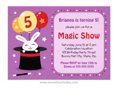 Bunny rabbit in magicians hat magic show birthday party invitation for kids