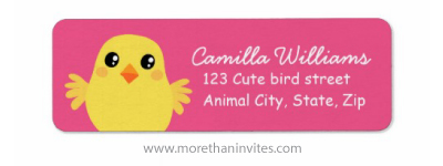 Cute cartoon Easter chicken on pink background personalized custom return address labels