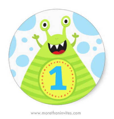Cute, funny monster first birthday party stickers for boys and girls