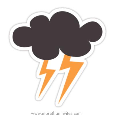 Dark thunder storm cloud with lightning bolts sticker
