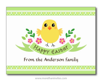 Happy Easter postcard with cute cartoon chicken, flowers, banner and customizable text