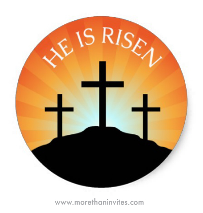 He is risen Easter stickers envelope seals with cross sillhouette and sunrise