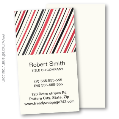 Modern retro gray red stripes striped pattern business card