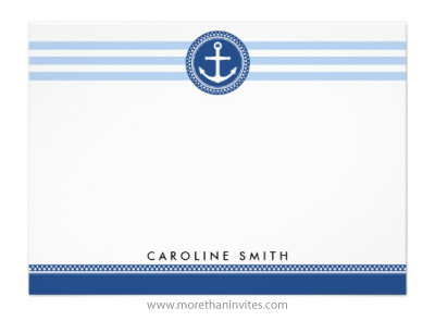 Nautical anchor emblem and stripes personalized name flat note card