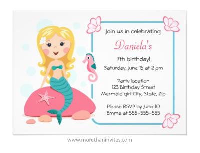 Blond mermaid girl with seahorse and starfish birthday party invitation for girls