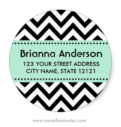 Chic trendy black and white chevron pattern return address labels with mint green band