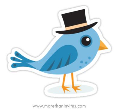 Cute blue cartoon bird wearing a black hat