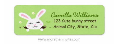 Cute bunny rabbit peeking out from a hole in the ground return address label