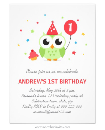 Cute green party owl first birthday party invitation for boys and girls