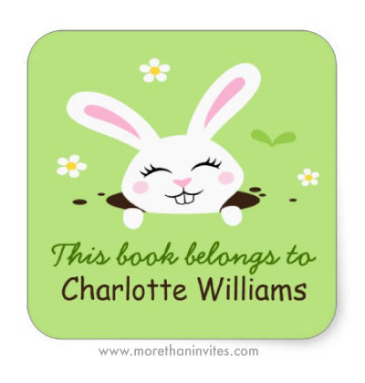 Cute white cartoon bunny rabbit personalised book plate stickers for school children