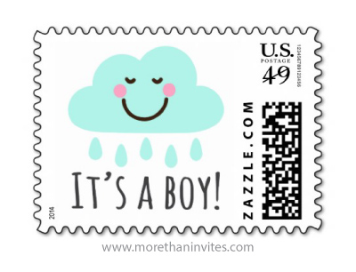 Its a boy baby shower or new announcement postage stamp with cute, happy rain cloud