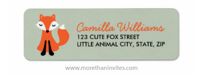 Little woodland fox cute cartoon illustration custom return address label