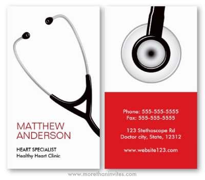 Medical doctor or ER nurse business card with stethoscope