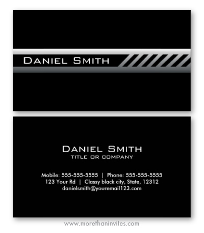 Modern masculine black business card with gray gradient band and diagonal stripes