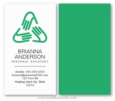 Personal Assistant Carer Business Card With Helping