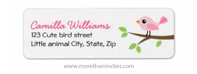 Pink bird on sping branch cute baby shower return address label
