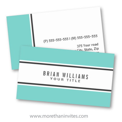Retro aqua blue borders modern stylish white business card template