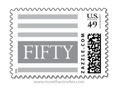 Stylish elegant formal gray stripes 50th fiftieth birthday party postage stamp