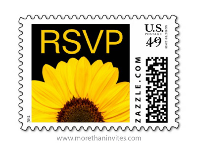 Yellow sunflower elegant floral RSVP postage stamp
