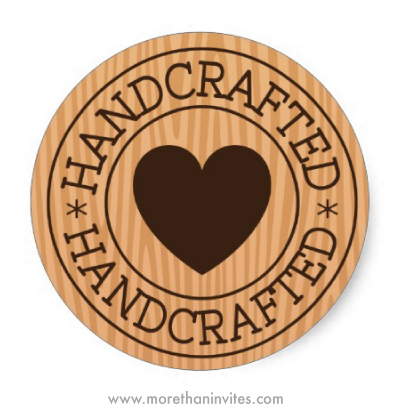 Handcrafted stickers stamp design with heart on wooden wood grain background