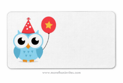 Blu birthday owl with balloon and party hat blank labels