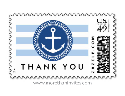 Blue nautical anchor emblem and stripes wedding thank you postage stamp