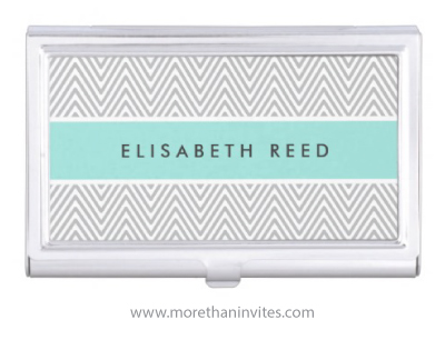 Chic aqua blue and gray business card holder with chevron zigzag chick turquoise aqua blue and fray personalised business card holder with trendy chevron zigzag pattern colourmoves