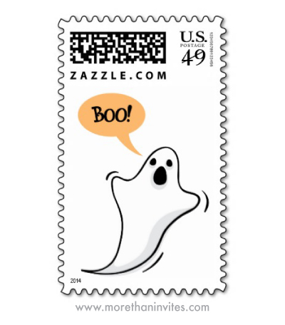 Ghost saying boo cute halloween invitation postage stamps