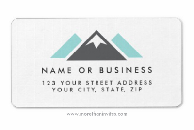 mountain hills return address label dark gray and aqua blue more