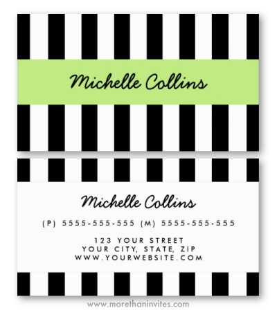 Personal profile or business card for women with black and white stripes and lime green band