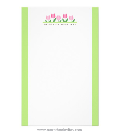 Pink tulip flower stationery sheets with personalized text