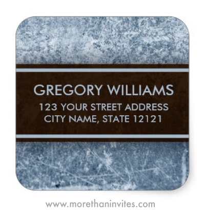Weathered steel grunge return address label