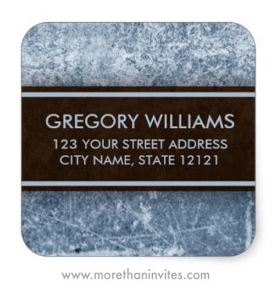 Weathered steel grunge return address label