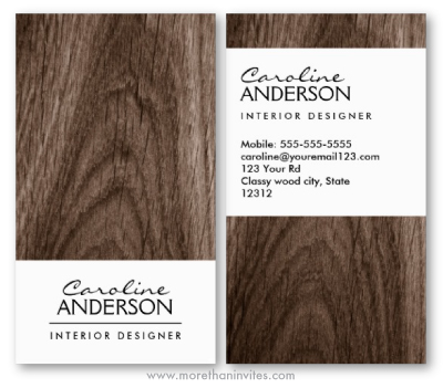 Classy dark oak wood business card template for women - Business name for interior design company ...