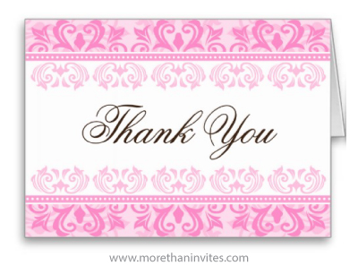 Elegant pink damask borders folded thank you card